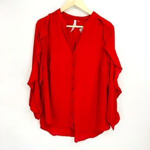 Ny Collection Red Split Band Utility Blouse